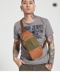 Black Canvas Leather Sling Backpack Men's Sling Bag Chest Bag Canvas One shoulder Backpack For Men