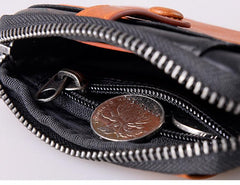 Black Brown Leather Mens Front Pocket Wallet Cool Small Zipper Card Wallet Key Wallet For Men