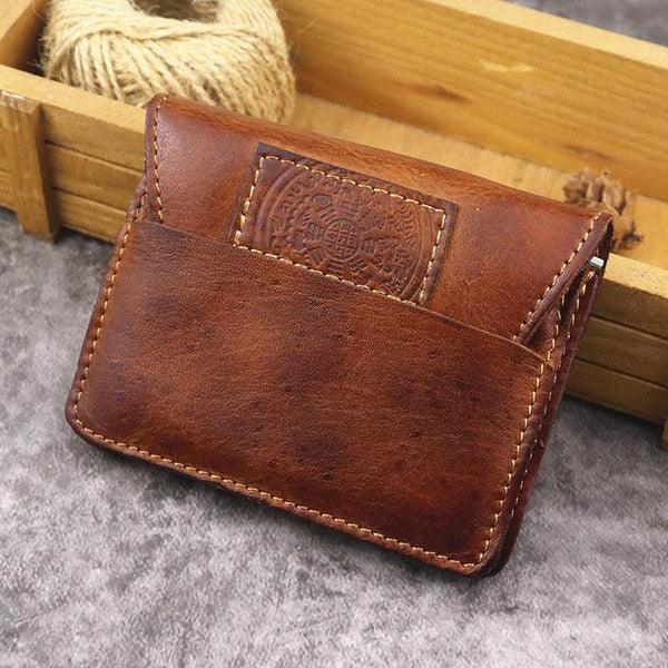 Brown Leather Men Card Holder Wallet Leather Card Holder Slim Wallet with Coin Pocket For Men