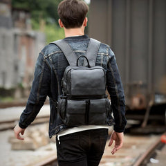 Cool Black Mens Leather 14 inches Computer Backpacks Cool Travel Backpacks School Backpack for men