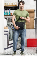 Black Casual Leather Mens 10 inches Side Bag Postman Bag Black Messenger Bag Courier Bag for Men