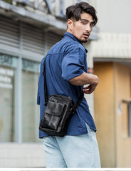 Black Casual Leather Mens Vertical Side Bag Black Messenger Bags Postman Bag Courier Bag for Men