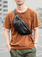 Black Casual Leather Mens Fanny Pack Brown Waist Bag Waist Pack Hip Bag Bum Pack For Men