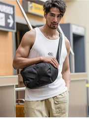 Cool Black Nylon Mens 10 inches Chest Bag Messenger Bags One Shoulder Backpack Black Side Bag for Men