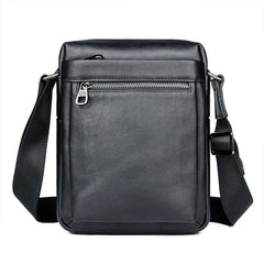 Black Cool Leather 8 inches Small Vertical Messenger Bag Courier Bag Postman Bag For Men