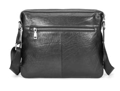 Black Cool Leather Mens 10 inches Side Bag Messenger Bags Black Postman Bags Courier Bag for Men