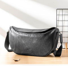 Black Cool Leather Mens 12 inches Side Bag Messenger Bags Casual Bicycle Bags for Men