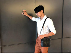 Black Cool Leather Mens Small Shoulder Bags Vertical Messenger Bags Square Phone Bag for Men