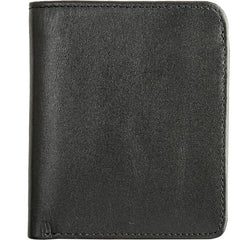 Black Cool Leather Mens Small Wallet billfold Wallet Bifold Vintage SLim Wallet for Men