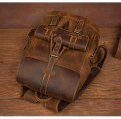 Vintage Brown Fashion Mens Leather 15-inch Computer Backpacks Brown Travel Backpacks School Backpacks for men
