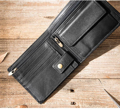Handmade Black Leather Mens Small Wallet Bifold Card Wallet Front Pocket Wallet billfold Wallet for Men