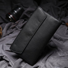 Black Leather Long Wallet for Men Bifold Long Wallet