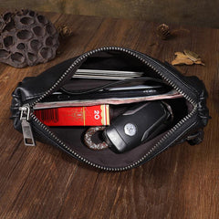Tan Leather Mens Long Clutch Wallet Leather Wallet Black Wristlet Clutch Wallet for Men
