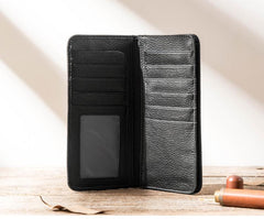 Fashion Black Leather Mens Bifold Long Wallet Thin Card Wallet Black Long Wallet for Men