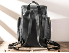 Black Mens Leather College Backpacks Travel Backpacks Black 15 inches Computer Backpack for men