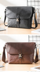 Black Wrinkled Leather Mens Small Side Bag Messenger Bags Brown Courier Bag Bicycle Bags for Men