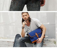 Blue Nylon Leather Mens Casual Side Bag Small Messenger Bags Casual Courier Bags for Men