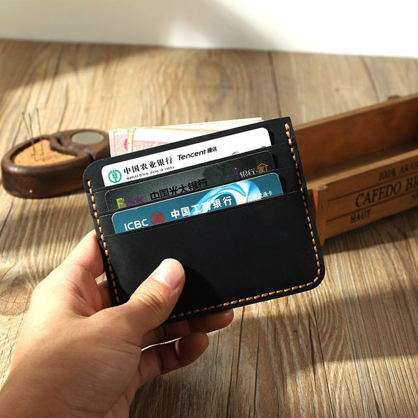 Black Leather Mens Front Pocket Wallet Personalized Handmade Slim Card Wallets for Men