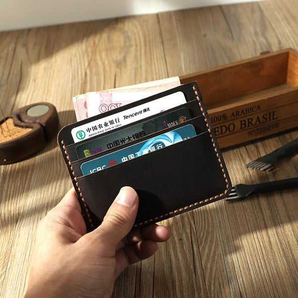 Coffee Leather Mens Front Pocket Wallet Personalized Handmade Slim Card Wallets for Men