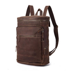 Brown Leather Men's 14 inches Large Barrel Computer Backpack Cylinder Travel Backpack Large College Backpack For Men