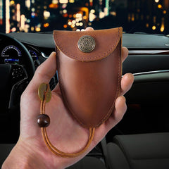 Brown Leather Draw Men and Women's Key Wallet Black Key Case Car Car Key Holder For Men
