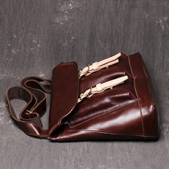 Brown Leather Men Satchel Side Bag Messenger Bag Black Courier Bag For Men