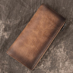 Vintage Brown Long Wallet Leather Mens Bifold Long Wallet Slim Long Wallet For Men