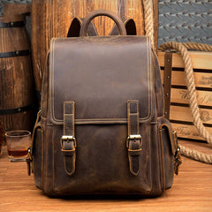 Casual Brown Mens Leather 14-inch Computer Backpacks Brown Travel Backpacks School Backpack for men