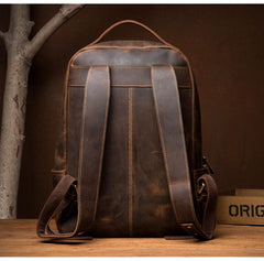 Brown Casual Mens Leather 16-inch Large Computer Backpack Travel Backpacks Laptop Backpack for men