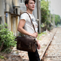 Brown Cool Leather 14 inches Briefcase Work Bag Business Bags Side Bag for Men