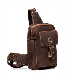 Cool Brown Leather One Shoulder Backpack Sling Bags Crossbody Pack for Men