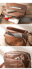 Brown Cool Leather Mens 10 inches Side Bag Small Courier Bag Messenger Bags for Men