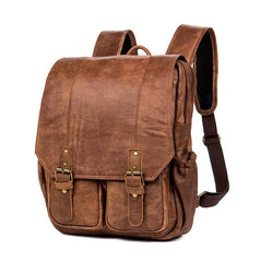 Brown Fashion Mens Leather 15-inch Computer Backpacks Cool Travel Backpacks College Backpack for men