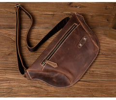 Cooll Mens Brown Leather Fanny Pack Mens Waist Bags Hip Pack Belt Bags Bumbags for Men