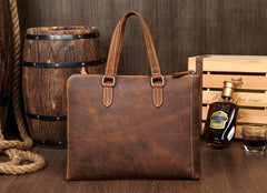 Brown Leather Mens 13 inches Briefcase Laptop Side Bag Business Bags Work Bags for Men
