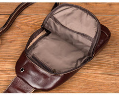 Brown Leather Mens Cool Sling Bags Yellow Brown Crossbody Packs Chest Bag for menest Bag for men