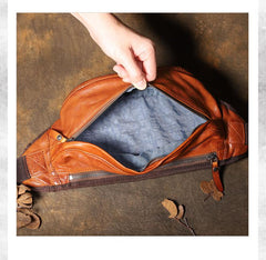 Brown MENS Suede 8 inches Black LEATHER FANNY PACK Chest Bag WAIST BAGS For Men