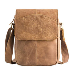 Camel Leather Mens Vertical Mini Side Bag Small Messenger Bags Courier Bag for Men