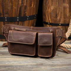 Vintage Brown Leather Fanny Pack Mens Waist Bags Hip Pack Belt Bags Bumbags for Men