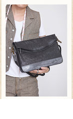 Cool Mens Black Leather Courier Bags Side Bags Leather Messenger Bags Postman Bag for Men