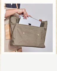 Leather Canvas Mens Womens Green Tote Bag Canvas Handbag Messenger Bag Canvas Tote for Men Women