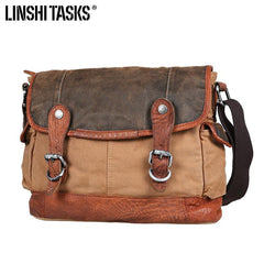 Khaki Canvas Leather Mens Coffee Side Bag Messenger Bag Khaki Canvas Courier Bag for Men