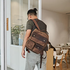 Waxed Canvas Leather Mens Backpack 14 inches Canvas Travel Backpack Canvas Computer Backpack for Men