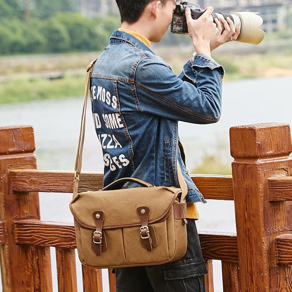Canvas Leather Mens 14'' Waterproof Army Green CANON CAMERA Khaki Messenger Bag NIKON CAMERA Side BAG DSLR CAMERA BAG