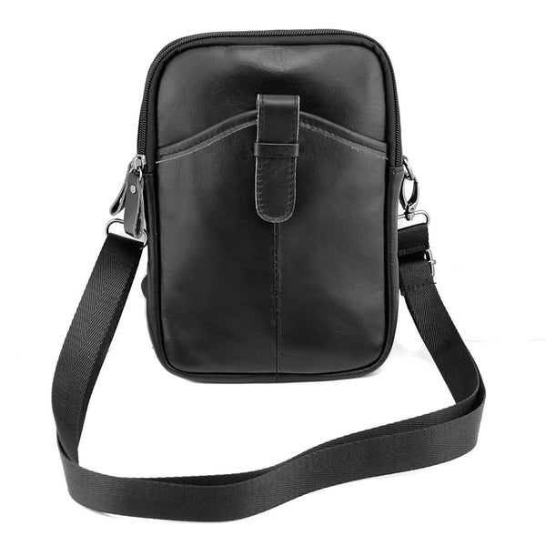 Casual Black LEATHER MENS SMALL VERTICAL Postman BAG SIDE BAGS Cool COURIER BAG MESSENGER BAG FOR MEN