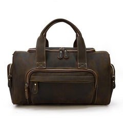 Casual Brown Leather Men Overnight Bags Handbag Travel Bags Weekender Bags For Men