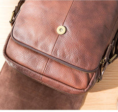 Casual Leather Mens 8 inches Vertical Side Bag Brown Messenger Bags Postman Bag for Men