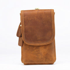 Casual Retro Brown Leather Cell Phone HOLSTER Belt Pouches for Men Waist Bags BELT BAG For Men