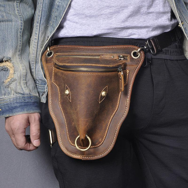 Vintage Brown LEATHER MEN'S Ox Fanny Pack Waist Bag Side Bag Drop Leg Biker Bag For Men