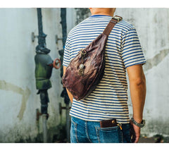 Cool Black Leather Mens Chest Bag Fanny Pack Waist Bags Coffee Leather Hip Bag Bum Bag For Men